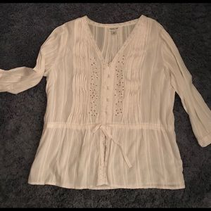 Coldwater Creek top white/tan  large